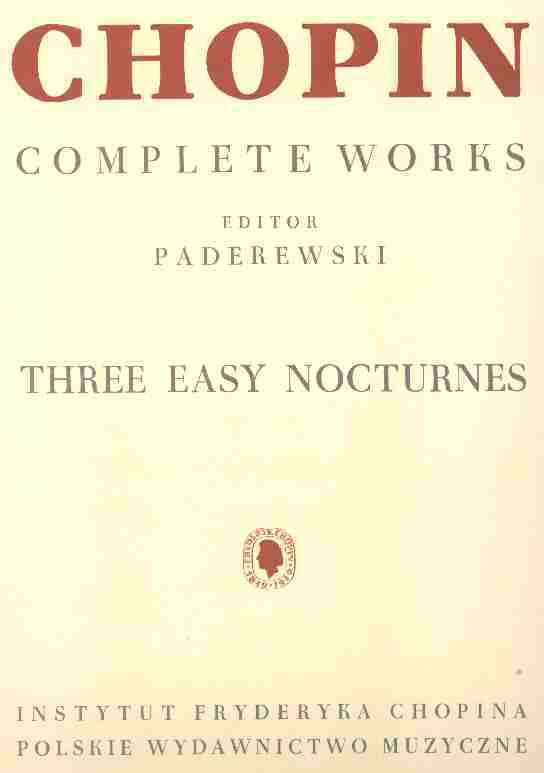 Okładka: Chopin Fryderyk, Trzy łatwe nokturny