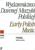 Okładka: Pękiel Bartłomiej, Missa brevis per chorum quattuor vocum (partytura)