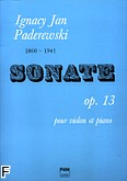 Okładka: Paderewski Ignacy Jan, Sonata op. 13 na skrzypce i fortepian