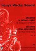 Ok�adka: G�recki Henryk Miko�aj, Sonatina w jednej cz�ci op. 8