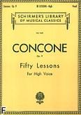 Okładka: Concone Joseph, 50 Lessons, Op. 9 (głos wysoki)