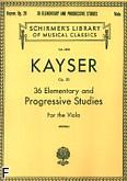 Okładka: Kayser Heinrich Ernst, 36 podstawowych etiud, ułożonych progresywnie na altówkę