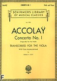 Okładka: Accolay Jean Batiste, Concerto No. 1 for the Viola with Piano Accompaniament