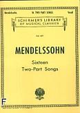 Okładka: Mendelssohn-Bartholdy Feliks, 16 pieśni dwugłosowych