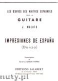 Okładka: Malats Joaquin, Impressiones De Espana pour la guitare
