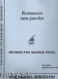 Ok�adka: Mendelssohn-Bartholdy Feliks, Romances Sans Paroles, Vol. 5 (Nos. 39-49)