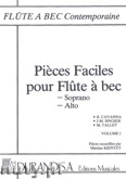 Okładka: Singier Jean Marc, Tallet Marc, Cavanna B., Pieces Faciles pour Flute a bec Soprano et Alto, Vol. 1