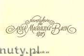 Okładka: Bach Johann Sebastian, Notenbuchlein für Anna Magdalena Bach