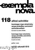 Okładka: Schnittke Alfred, Hommage a Strawinsky, Prokofjew und Schostakowitsch für Klavier zu Sechs Händen