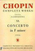 Okładka: Chopin Fryderyk, Koncert f-moll op. 21, CW XX (partytura)