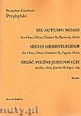 Okładka: Przybylski Bronisław Kazimierz, Sześć pieśni jesiennych na flet, obój, klarnet B, fagot, róg (partytura + głosy)