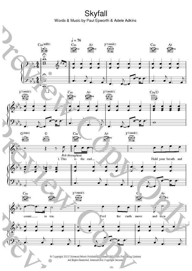 skyfall adele chords
