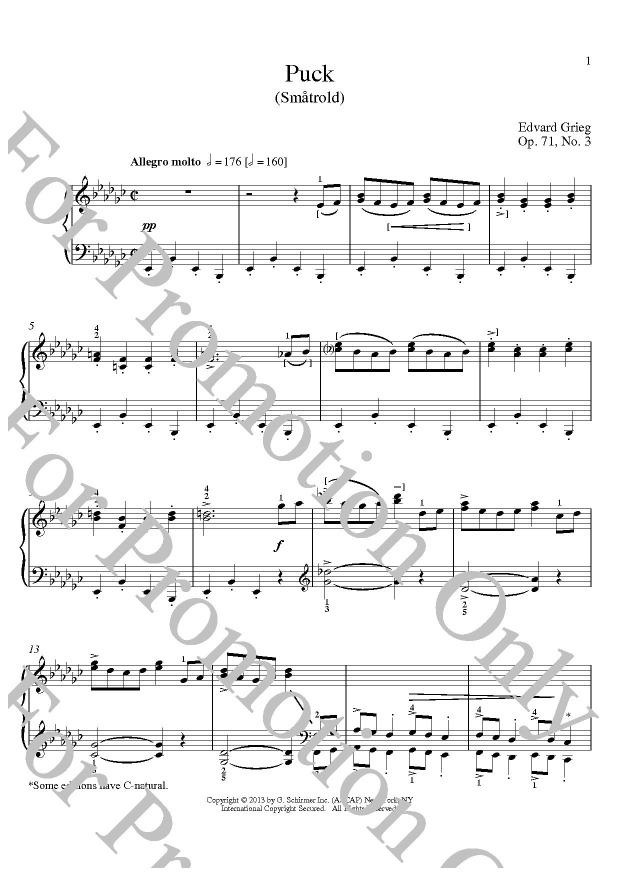 KLIKNIJ aby powiększyć prezentację publikacji: Edvard Grieg, Puck (Smatrold) Op. 71 No. 3