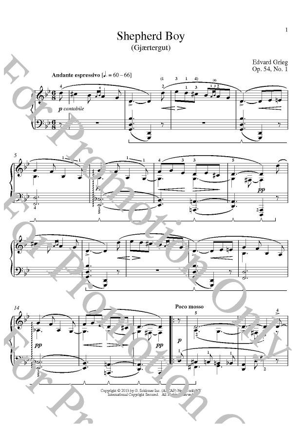 KLIKNIJ aby powiększyć prezentację publikacji: Edvard Grieg, Shepherd Boy (Gjaertergut) Op. 54 No. 1