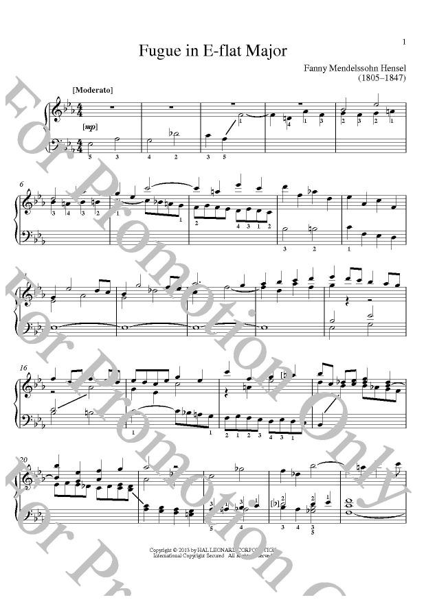 KLIKNIJ aby powiększyć prezentację publikacji: Fanny Mendelssohn Hensel, Fugue In E-Flat Major